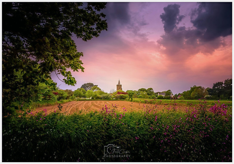(Photo Framed) St. Saviour's Church & Field Natural Framing | Guernsey (PCP0816)