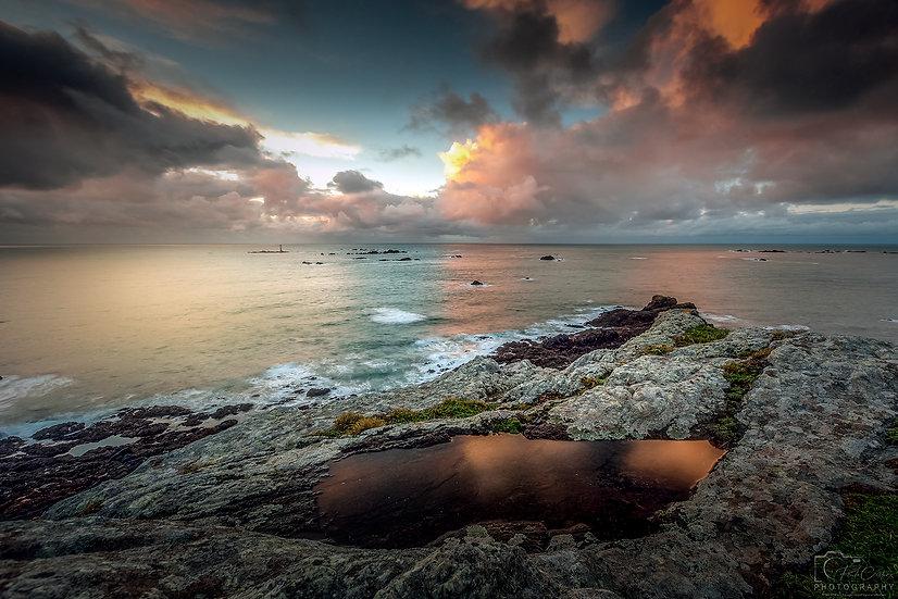 (Photo Framed) South Coast Sunset Puddle Reflections V2 (PCP8982)