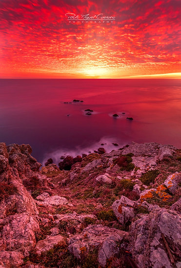 (Photo Framed) Red Mackerel Sky Sunset - Pleinmont - Guernsey (Portrait) (PCO595