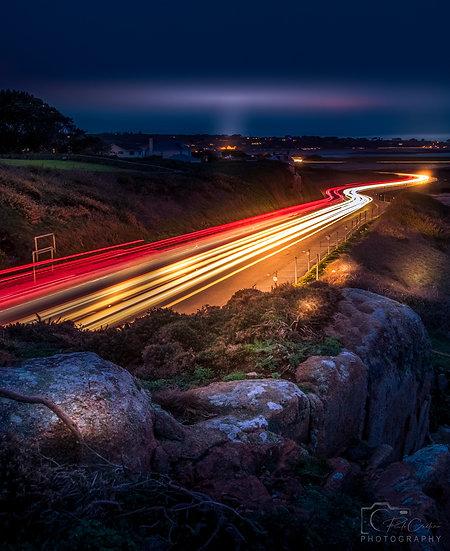 (Canvas) La Neuve Rue Light Trails looking South - Guernsey (PCP06231)