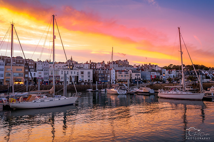(Canvas) Boats at Saint Peter Port Sunset - Guernsey (PCP6827)