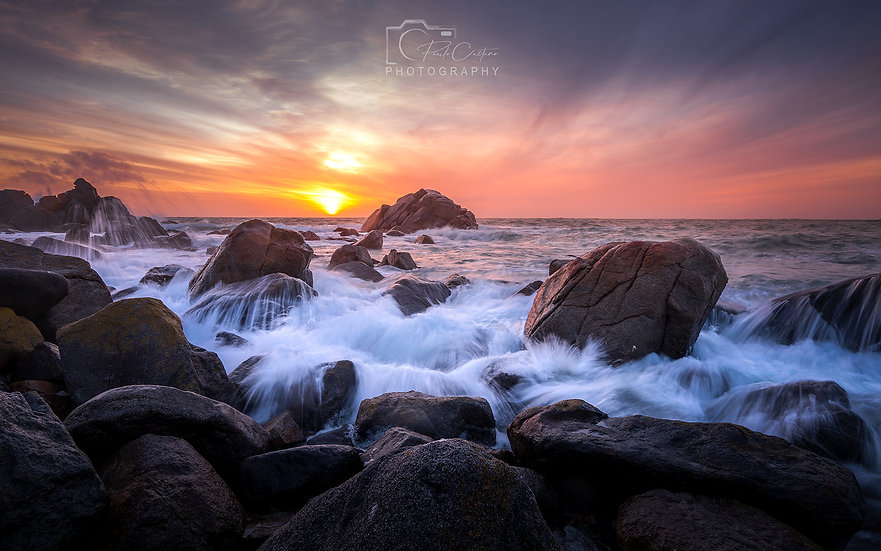 (Photo Framed) Rocky Shore Sunset (PCP1565)