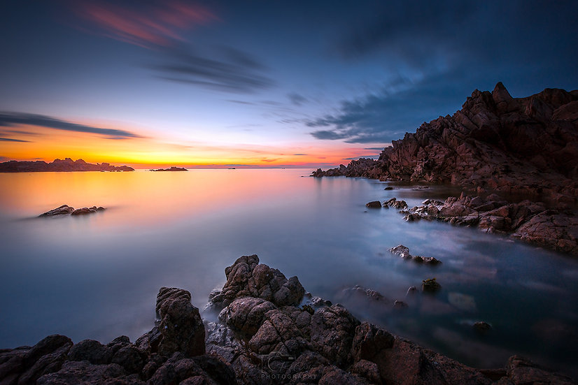 (Photo Framed) Blue Hommet Rocks at Sunset (PCP2443)