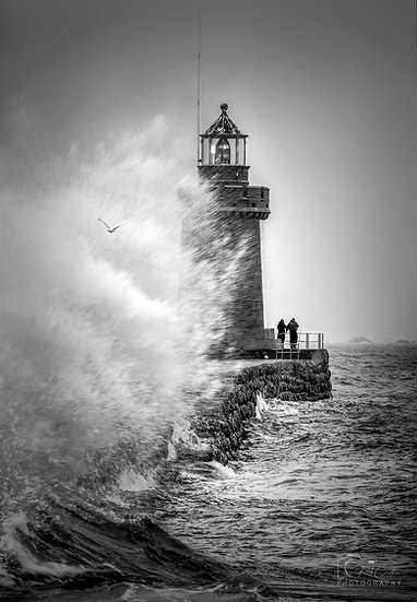 (Canvas) Lighthouse Storm Fishing - St Peter Port - Guernsey (PCP8520BW)