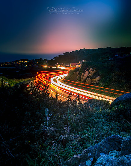 (Canvas) La Neuve Rue Light Trails looking North - Guernsey (PCP06234)