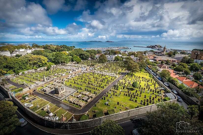 (Canvas) Victoria Tower View of St. Peter Port and Candice Cemetery (PCP5538)