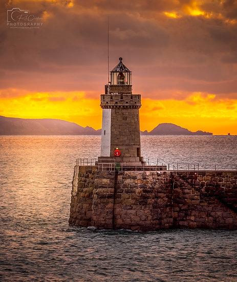 Castle Cornet Lighthouse at an Autumn Sunrise (PCP9564)(Square)