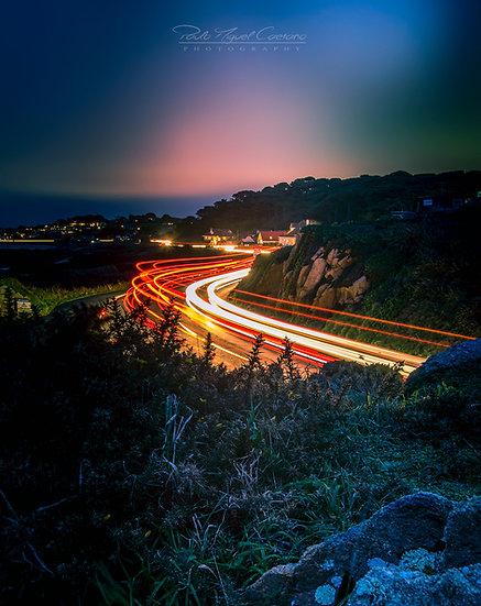 (Photo Framed) La Neuve Rue Light Trails looking North - Guernsey (PCP06234)