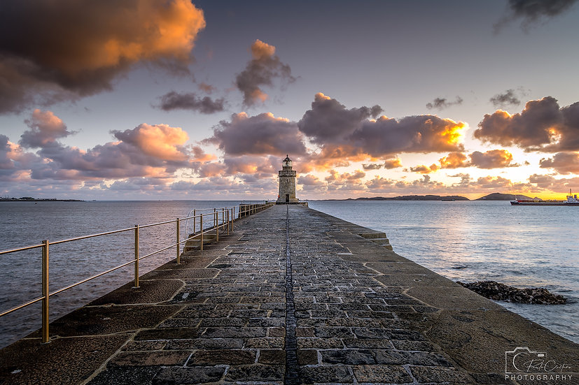 (Canvas) Sunrise at Castle Cornet Lighthouse, St. Peter Port V2 (PCP7616)