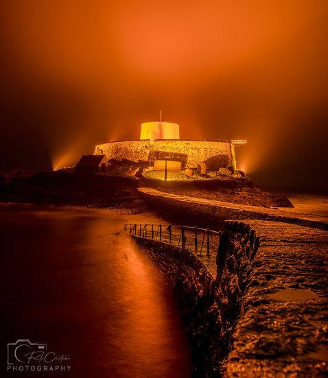 (Photo Framed) Gold Fog - Fort Grey - Guernsey (PCO5689)