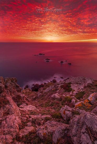 (Rolled) Red Mackerel Sky Sunset - Pleinmont - Guernsey (Portrait) (PCO5953)