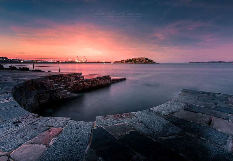 (Rolled) Pink Sunset at The Horseshoe Pool - St. Peter Port - Guernsey (PMC2078)