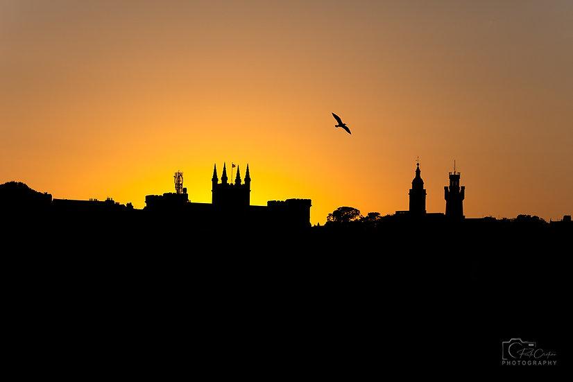 (Photo Framed) Saint Peter Port Golden Horizon Skyline (PCP5038)