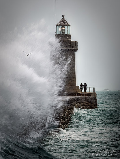 (Canvas) Lighthouse Storm Fishing - St Peter Port - Guernsey (PCP8520COL)