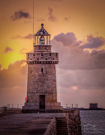 (Photo Framed) Sunrise at Castle Cornet Lighthouse, St. Peter Port  (PCP7601)