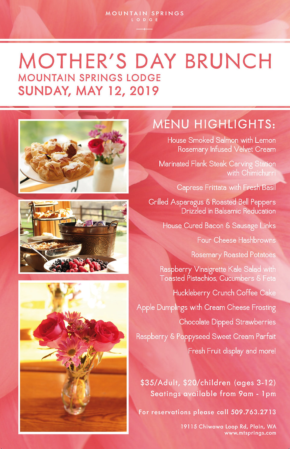 Mothers Day Brunch  at Mountain Springs Lodge, Leavenworth WA