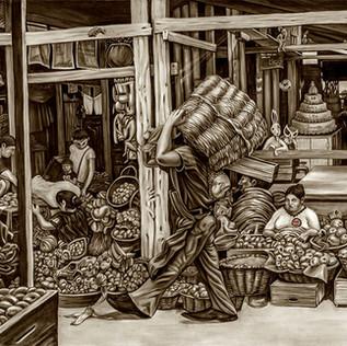 The Market. Oil con Canvas, 245*176 cm.