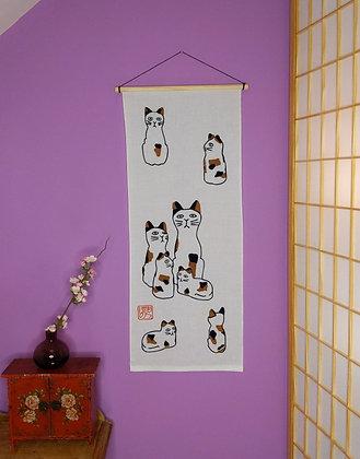 TENUGUI WALL HANGING - CAT FAMILY 1