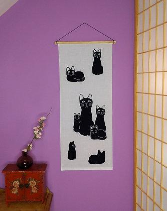 TENUGUI WALL HANGING - CAT FAMILY 2