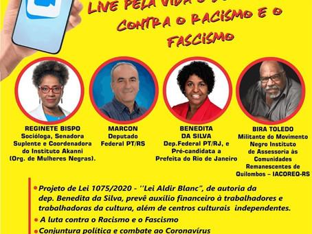 Live pela vida e democracia, contra o racismo e o fascismo