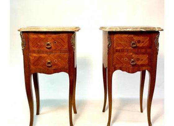 Paire De Chevet En Marqueterie De Style Louis XV