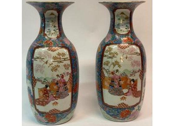 """Paire de vase XIX Meiji """"La préparation du Samouraï """""""