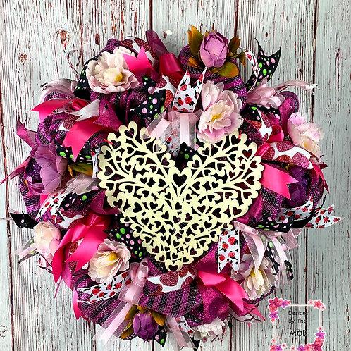 Wooden Lattice Heart Wreath