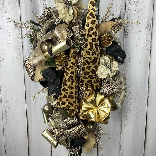 Leopard Christmas Tree Wreath