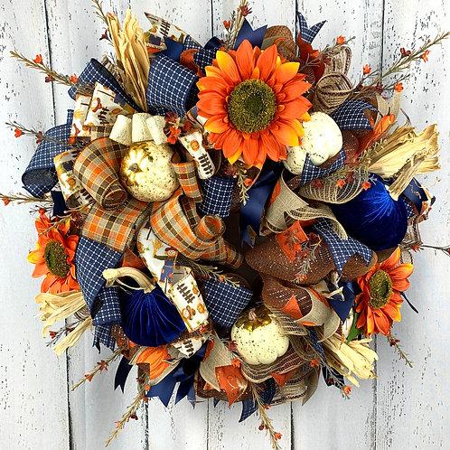Blue Velvet Pumpkin Wreath