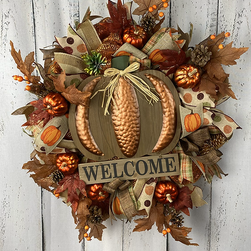 Welcome Pumpkin Wreath