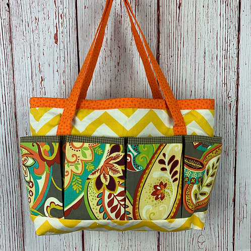 Orange and Yellow 16-Pocket Tote