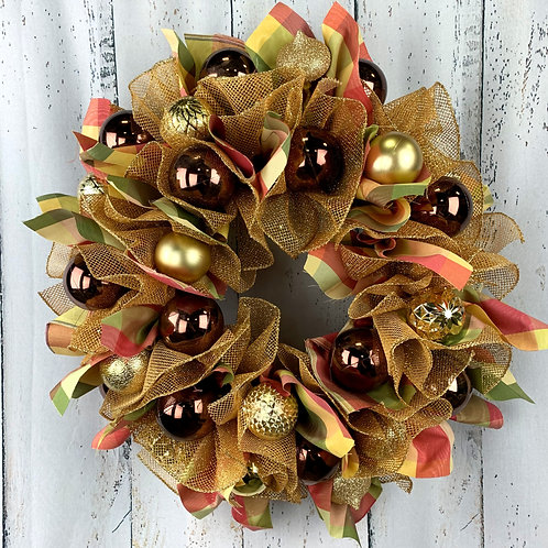 Gold and Maroon Traditional Christmas Wreath
