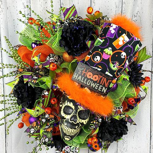 Orange Skull Wreath