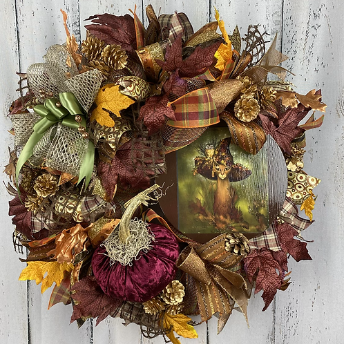 Fall Cat Witch Wreath