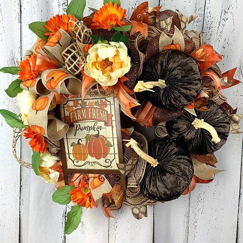 Brown Velvet Pumpkin Fall Wreath