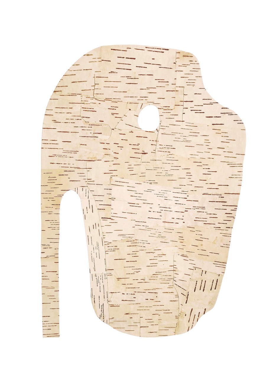 Pierced Stone, birch bark on paper, 2020 (61 x 45.5 cm)