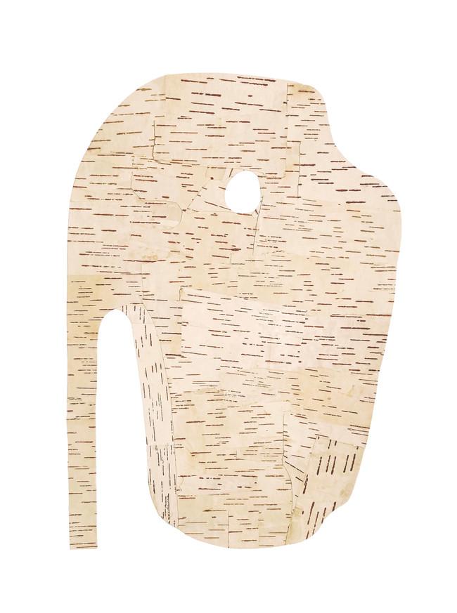 Pierced Stone, birch bark on paper, 2020 (61 x 45.5 cm)