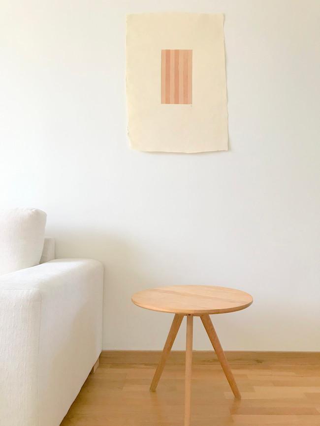 Interwoven 1, birch bark on hemp paper, 2020, (22 x 5.5 x 23 cm)