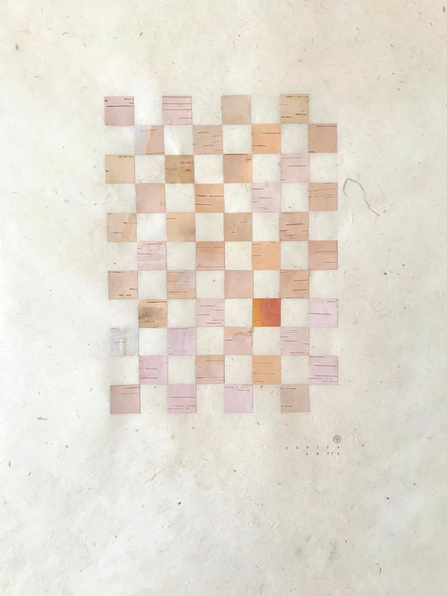 Interwoven 4, birch bark on lokta paper, 2020, (22 x 5.5 x 23 cm)