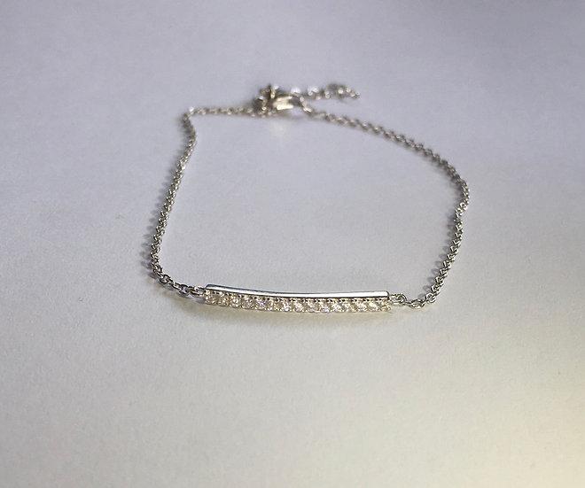 Sterling Silver Bar Clear CZ Bracelet