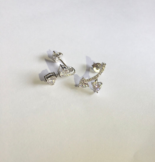 Sterling Silver Cherry Hearts Clear CZ Earrings