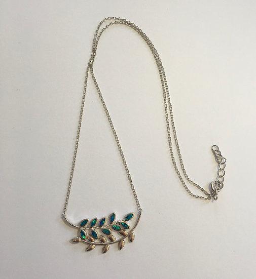 Sterling Silver Blue Opal Trendy Leaf Necklace