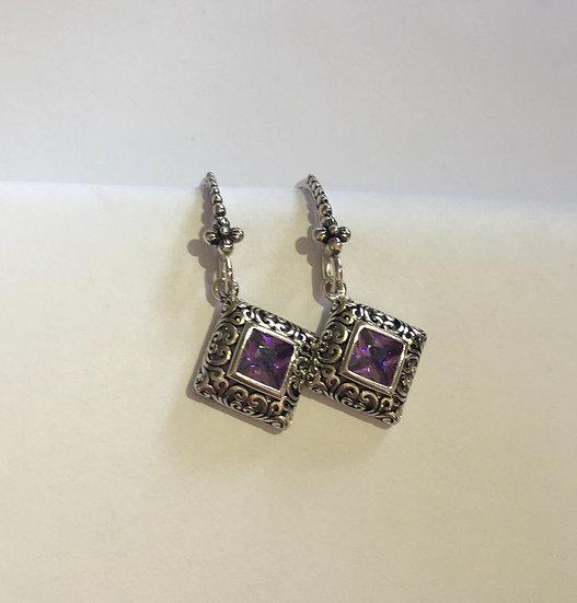 Sterling Silver Ornate Square Cut Amethyst CZ Earrings