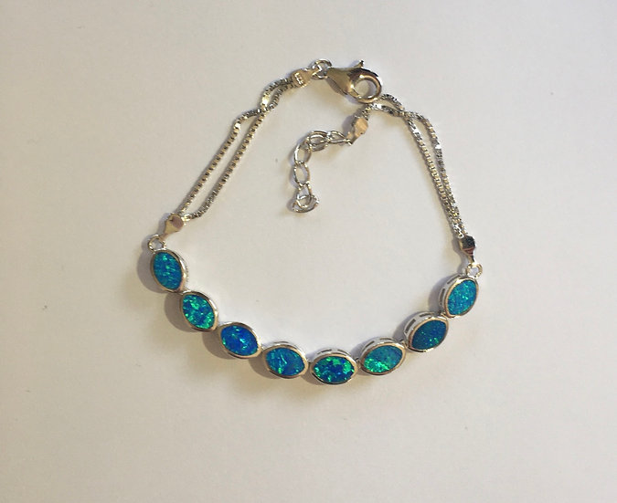 Sterling Silver Blue Lab Opal Marquise with Box Chain Bracelet