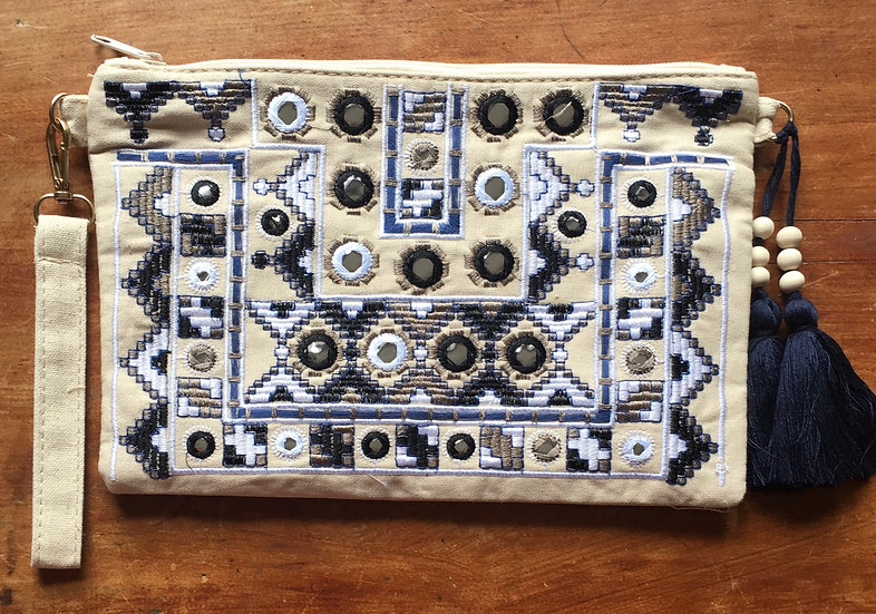 Purse Navy Aztec