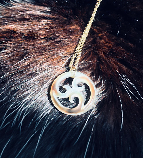 Aurora Mother of Pearl Carved Koru Necklace