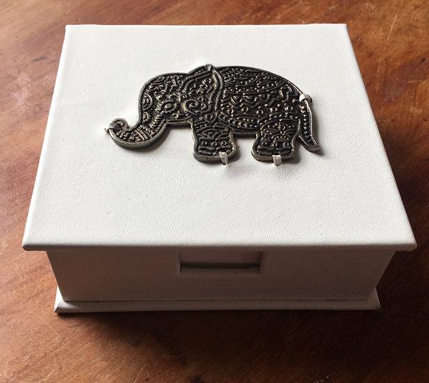Leather Memo Box Elephant