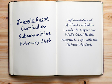 Jenny's Recap on the 2/26 Curriculum Subcommittee Meeting