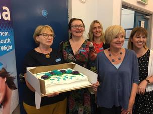 Sue McKenna and her cake