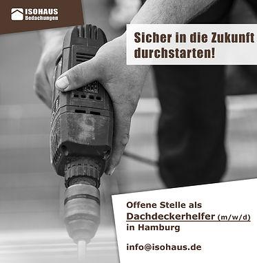 Stelle Dachdeckerhelfer ISOHAUS Hamburg.